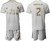 Mens 19-20 Soccer Real Madrid Club #2 Carvajal White Home Short Sleeve Suit Jersey