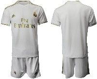 Mens 19-20 Soccer Real Madrid Club( Blank )white Home Short Sleeve Suit Jersey