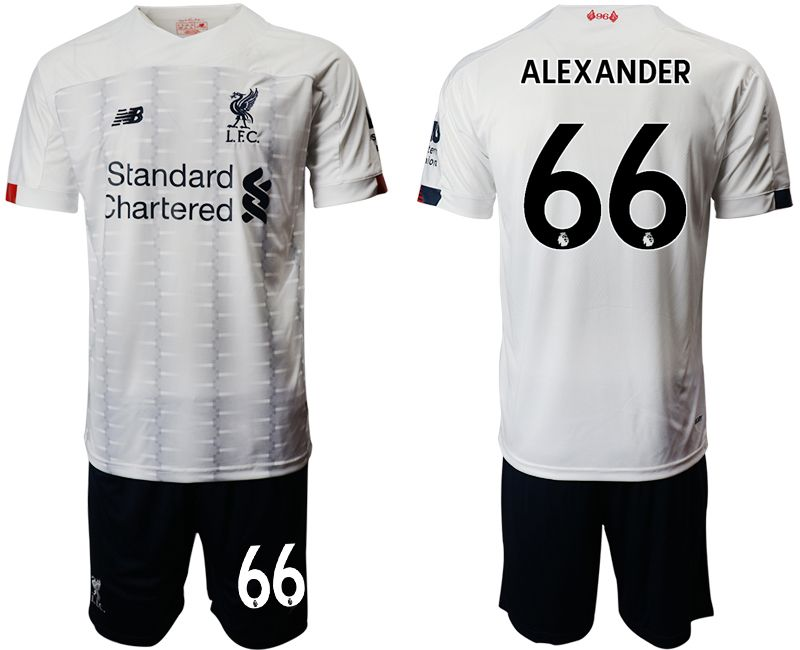 Mens 19-20 Soccer Liverpool Club #66 Alexander White Away Short Sleeve Suit Jersey