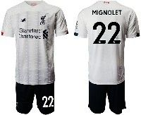 Mens 19-20 Soccer Liverpool Club #22 Mignolet White Away Short Sleeve Suit Jersey