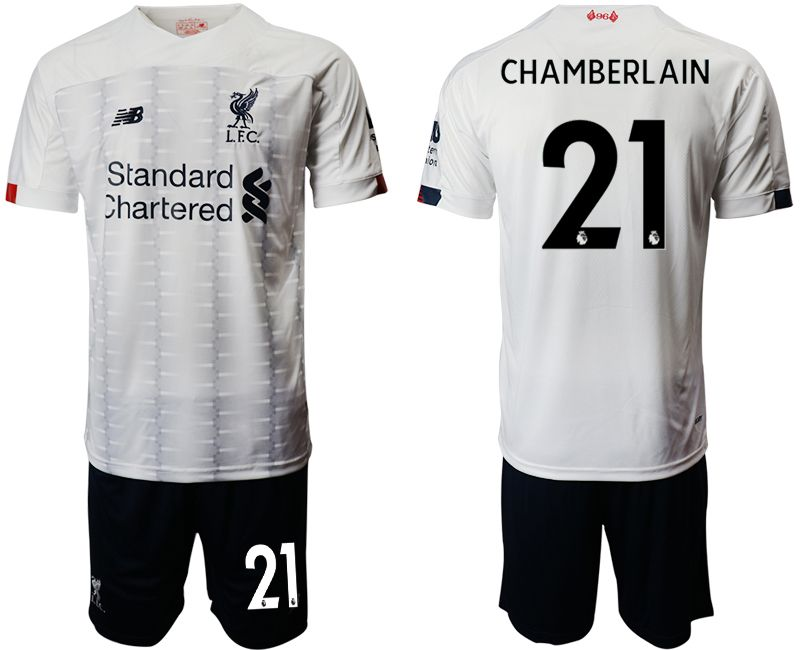Mens 19-20 Soccer Liverpool Club #21 Chamberlain White Away Short Sleeve Suit Jersey