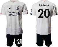 Mens 19-20 Soccer Liverpool Club #20 Lallana White Away Short Sleeve Suit Jersey