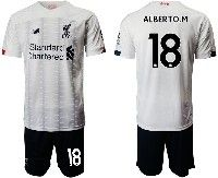 Mens 19-20 Soccer Liverpool Club #18 Alberto.m White Away Short Sleeve Suit Jersey