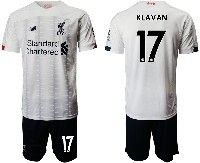 Mens 19-20 Soccer Liverpool Club #17 Klavan White Away Short Sleeve Suit Jersey