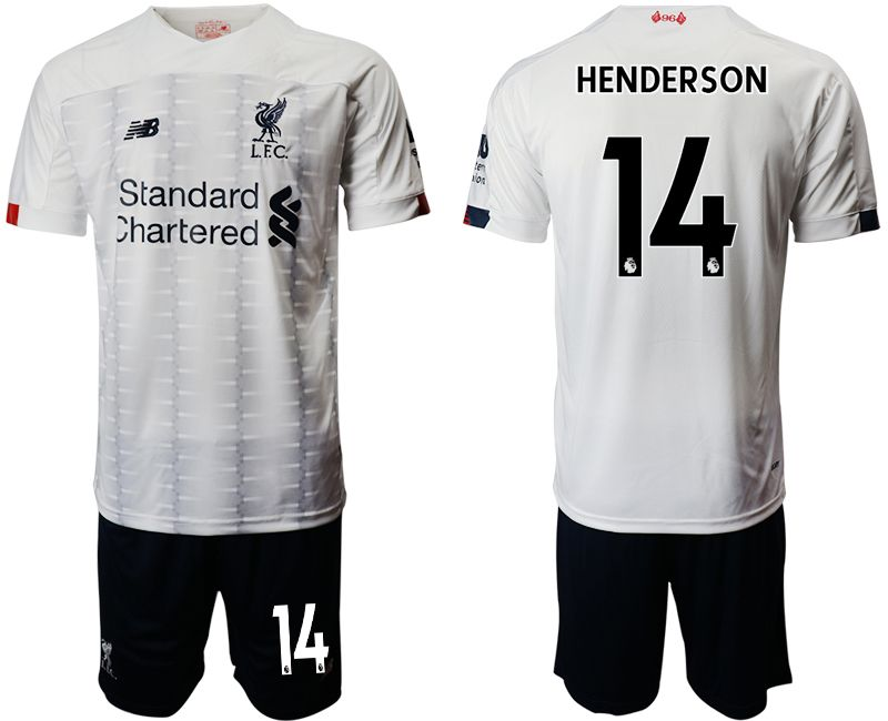 Mens 19-20 Soccer Liverpool Club #14 Henderson White Away Short Sleeve Suit Jersey