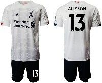 Mens 19-20 Soccer Liverpool Club #13 Alisson White Away Short Sleeve Suit Jersey