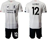Mens 19-20 Soccer Liverpool Club #12 Gomez White Away Short Sleeve Suit Jersey