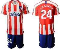 Mens 19-20 Soccer Atletico De Madrid Club #24 J.m.gimenez Red And White Stripe Home Short Sleeve Suit Jersey
