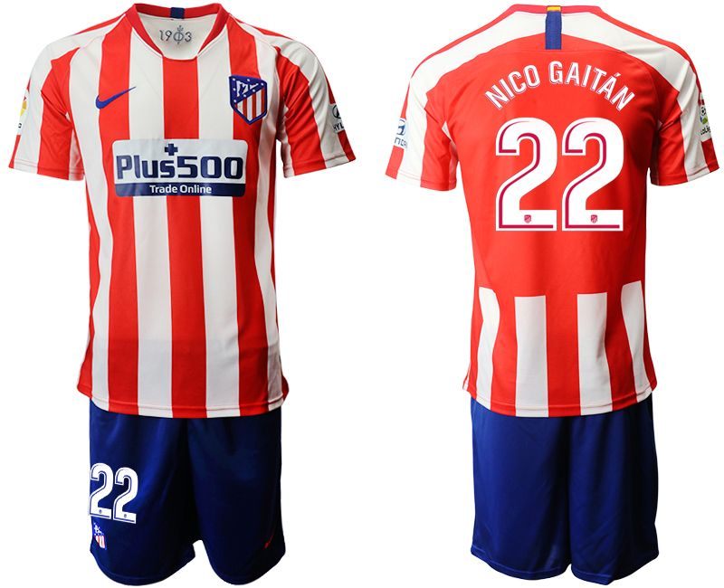 Mens 19-20 Soccer Atletico De Madrid Club #22 Nico Gaitan Red And White Stripe Home Short Sleeve Suit Jersey