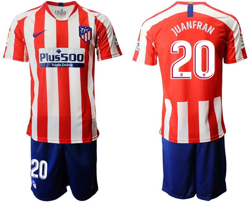 Mens 19-20 Soccer Atletico De Madrid Club #20 Juanfran Red And White Stripe Home Short Sleeve Suit Jersey
