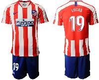 Mens 19-20 Soccer Atletico De Madrid Club #19 Lucas Red And White Stripe Home Short Sleeve Suit Jersey