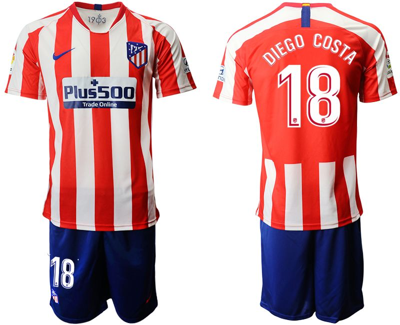 Mens 19-20 Soccer Atletico De Madrid Club #18 Diego Costa Red And White Stripe Home Short Sleeve Suit Jersey