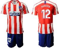Mens 19-20 Soccer Atletico De Madrid Club #12 Augusto Red And White Stripe Home Short Sleeve Suit Jersey