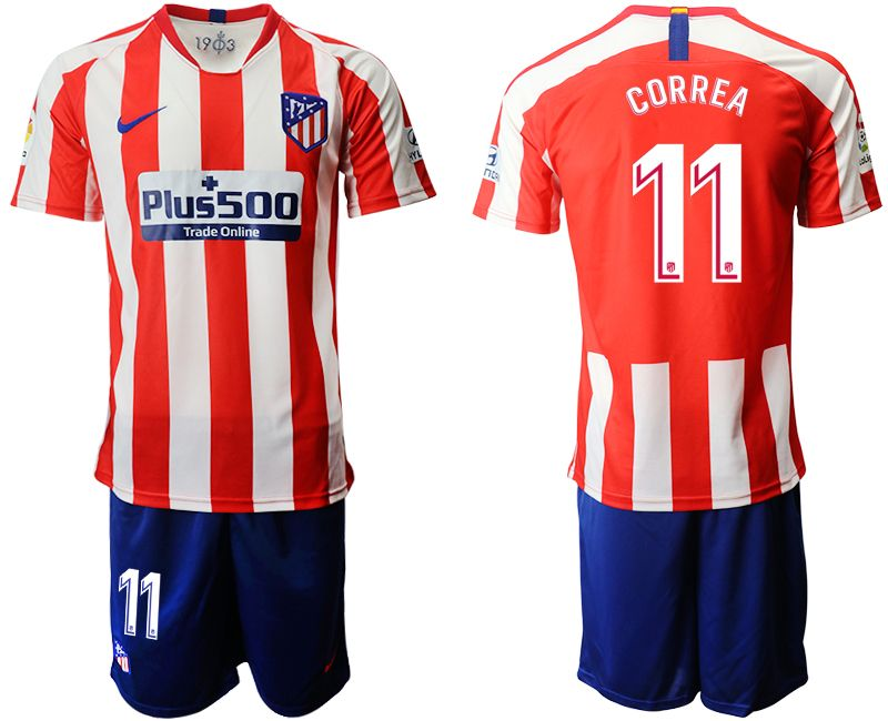 Mens 19-20 Soccer Atletico De Madrid Club #11 Correa Red And White Stripe Home Short Sleeve Suit Jersey