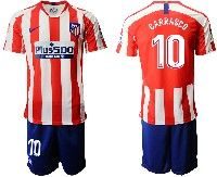 Mens 19-20 Soccer Atletico De Madrid Club #10 Carrasco Red And White Stripe Home Short Sleeve Suit Jersey