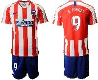 Mens 19-20 Soccer Atletico De Madrid Club #9 F.torres Red And White Stripe Home Short Sleeve Suit Jersey