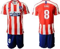 Mens 19-20 Soccer Atletico De Madrid Club #8 Saul Red And White Stripe Home Short Sleeve Suit Jersey