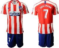 Mens 19-20 Soccer Atletico De Madrid Club #7 Griezmann Red And White Stripe Home Short Sleeve Suit Jersey