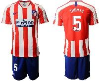 Mens 19-20 Soccer Atletico De Madrid Club #5 Thomas Red And White Stripe Home Short Sleeve Suit Jersey