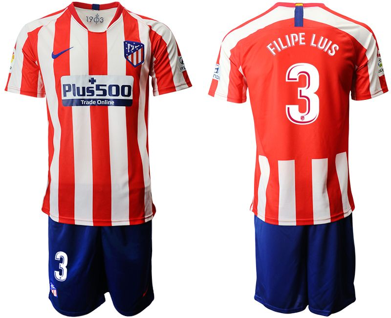 Mens 19-20 Soccer Atletico De Madrid Club #3 Filipe Luis Red And White Stripe Home Short Sleeve Suit Jersey