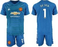 Mens 19-20 Soccer Manchester United Club #1 De Gea Blue Goalkeeper Short Sleeve Suit Jersey