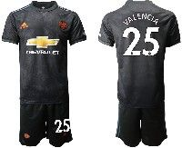 Mens 19-20 Soccer Manchester United Club #25 Valencia Black Away Short Sleeve Suit Jersey