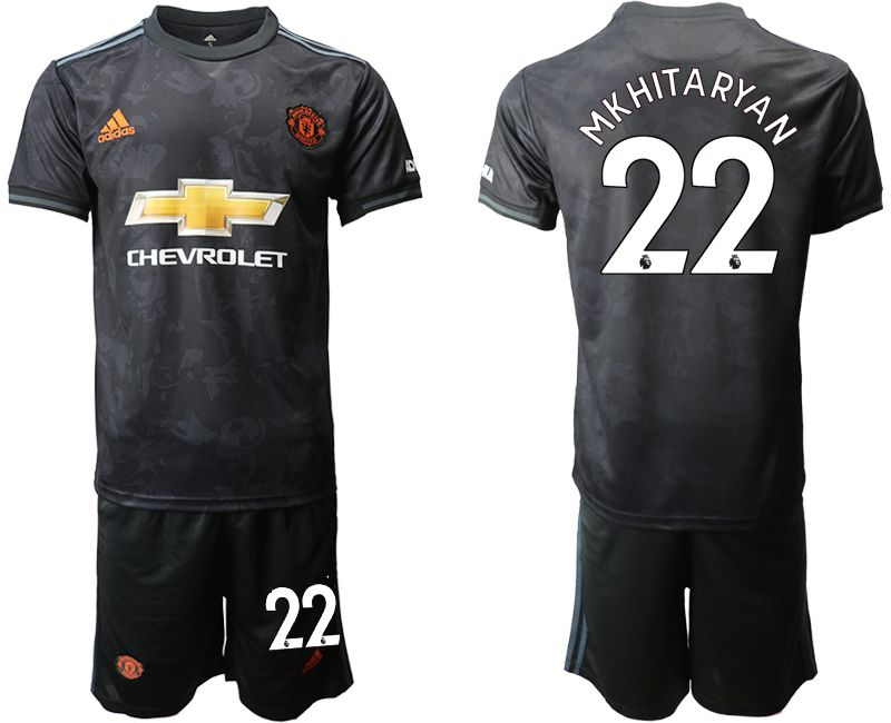 Mens 19-20 Soccer Manchester United Club #22 Mkhitaryan Black Away Short Sleeve Suit Jersey