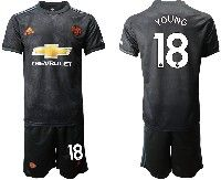 Mens 19-20 Soccer Manchester United Club #18 Young Black Away Short Sleeve Suit Jersey