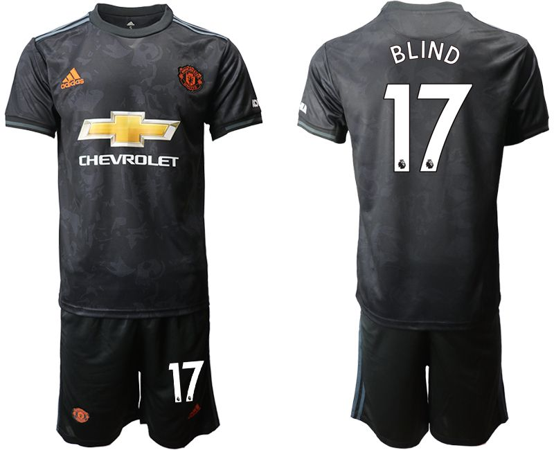 Mens 19-20 Soccer Manchester United Club #17 Blind Black Away Short Sleeve Suit Jersey