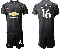 Mens 19-20 Soccer Manchester United Club #16 Carrick Black Away Short Sleeve Suit Jersey