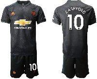 Mens 19-20 Soccer Manchester United Club #10 Rashford Black Away Short Sleeve Suit Jersey