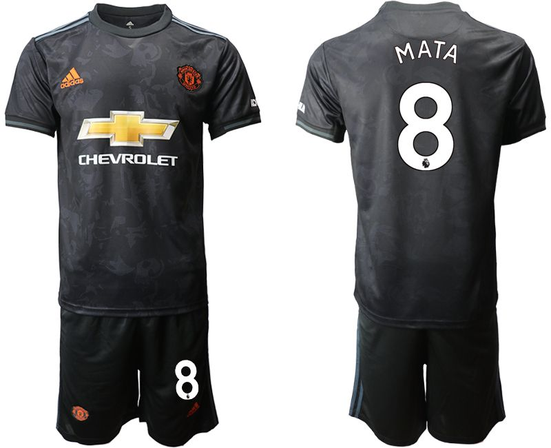 Mens 19-20 Soccer Manchester United Club #8 Mata Black Away Short Sleeve Suit Jersey