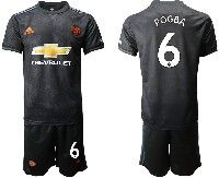 Mens 19-20 Soccer Manchester United Club #6 Pogba Black Away Short Sleeve Suit Jersey