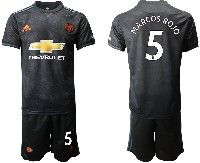 Mens 19-20 Soccer Manchester United Club #5 Marcos Rojo Black Away Short Sleeve Suit Jersey