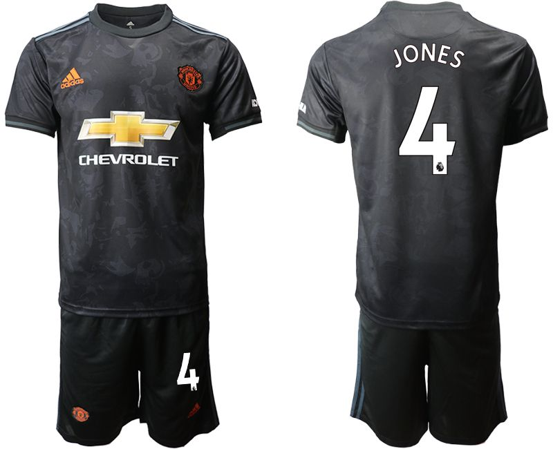 Mens 19-20 Soccer Manchester United Club #4 Jones Black Away Short Sleeve Suit Jersey