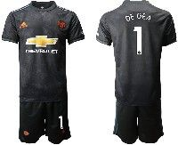 Mens 19-20 Soccer Manchester United Club #1 De Gea Black Away Short Sleeve Suit Jersey