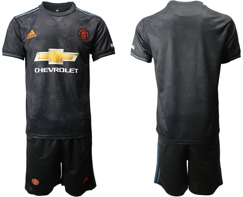 Mens 19-20 Soccer Manchester United Club( Blank )black Away Short Sleeve Suit Jersey