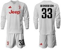 Mens 19-20 Soccer Juventus Club #33 Bernardeschi White Away Long Sleeve Suit Jersey
