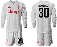 Mens 19-20 Soccer Juventus Club #30 Bentancur White Away Long Sleeve Suit Jersey