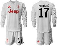 Mens 19-20 Soccer Juventus Club #17 Mandzukic White Away Long Sleeve Suit Jersey