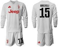Mens 19-20 Soccer Juventus Club #15 Barzagli White Away Long Sleeve Suit Jersey