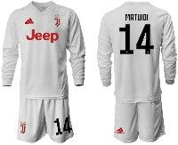 Mens 19-20 Soccer Juventus Club #14 Matuidi White Away Long Sleeve Suit Jersey