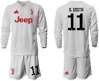 Mens 19-20 Soccer Juventus Club #11 D. Costa White Away Long Sleeve Suit Jersey