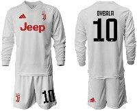 Mens 19-20 Soccer Juventus Club #10 Dybala White Away Long Sleeve Suit Jersey