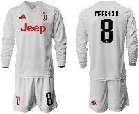 Mens 19-20 Soccer Juventus Club #8 Marchisio White Away Long Sleeve Suit Jersey