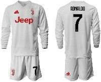 Mens 19-20 Soccer Juventus Club #7 Ronaldo White Away Long Sleeve Suit Jersey