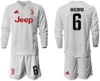 Mens 19-20 Soccer Juventus Club #6 Khedira White Away Long Sleeve Suit Jersey