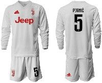 Mens 19-20 Soccer Juventus Club #5 Pjanic White Away Long Sleeve Suit Jersey