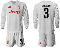 Mens 19-20 Soccer Juventus Club #3 Chiellini White Away Long Sleeve Suit Jersey
