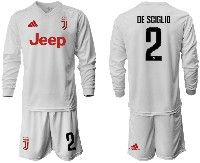 Mens 19-20 Soccer Juventus Club #2 De Sciglio White Away Long Sleeve Suit Jersey